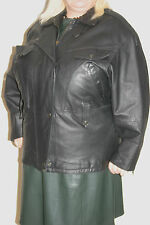 C&A Ladies Black REAL LEATHER BIKER JACKET uk18 eu46 us14/16 Chest c48ins c122cm