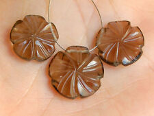 Natural Smoky Quartz Carved Flower Briolette Beads