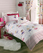 GIRLS BALLERINA DANCING GIRLS COLOURFUL SINGLE BED COTTON MIX DUVET COVER SET