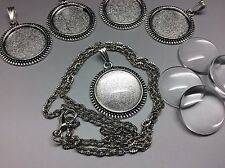 Pendant Necklace DIY Kit, 5 x 20mm Round Silver Setting, chain + glass cabochon