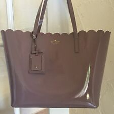 Kate Spade Lily Avenue Patent Large Carrigan Scallop Tote Porcini Rose Taupe
