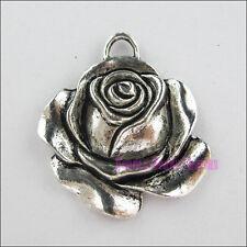 5Pcs Tibetan Silver Rose Flower Charms Pendants 33x36mm
