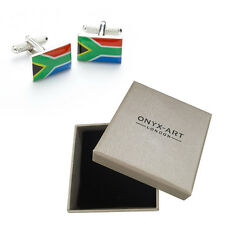 Mens South African Africa Flag Cufflinks & Gift Box By Onyx Art