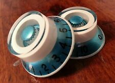 2 Guitar Top Hat volume/tone knobs. Blue Metallic/White. JAT CUSTOM GUITAR PARTS
