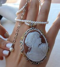 antique cameo necklace/brooch gold silver italian jewelry pendant made in italy