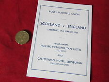 Original  SCOTLAND v ENGLAND  Rugby Union PLAYER & OFFICIAL  Itinerary 19/03/66
