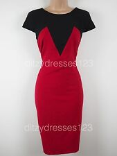 BNWT South Red & Black Colour Block Wiggle Pencil Dress Size 10 RRP £44