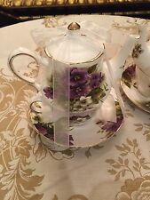 Grace's Teaware Tea for One Set Purple Flowers Gold Trim New