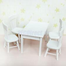 1:12 Modern Wooden Dining Room Table w/ 4 Chairs Doll House Miniature Furniture