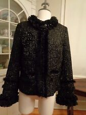 NEIMAN MARCUS sequined cocktail jacket stunning ruffled rabbit fur women's L