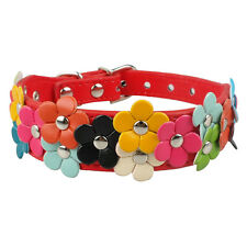 10-13'' Red Flower Studded PU Leather Small Dog Collars for Chihuahua Poodles
