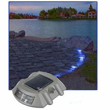 One Set Solar 6LED Outdoor Driveway Pathway Dock Step Light Lamp Blue-Lighting