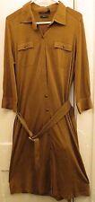Lauren Ralph Lauren Dress Silk Blouson Knee-Length Shirtdress Large Brown Work