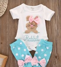 Easter Baby Outfit Onesie Bodysuit Short Sleeve Bunny with bowl and leg warmers