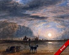 A BEACH AT SUNRISE WITH A DOG ON THE SHORE D. COX PAINTING ART REAL CANVAS PRINT