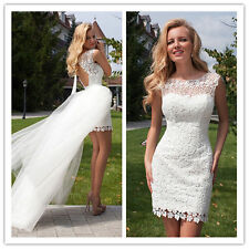 New White/ivory Short detachable Backless Lace Wedding dress Bridal custom size