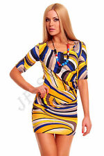 New Colorful Women Short Sleeve Mini Dress by Latino Paris One Size XS S M