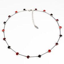 Collier Kette lang Silber Swarovski Kristalle Multicolor Light Siam Garnet rot