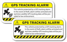 WARNING GPS TRACKING Alarm decal 2 pack Anti-Theft sticker for car, truck Yellow