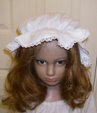 Victorian Lace White Mob Maid Mop Cap Fancy Dress Hat Accessory One Size Tudor
