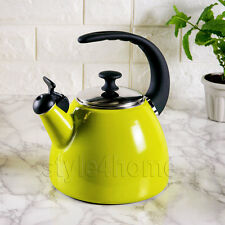 ENAMEL Carbon Steel WHISTLING Kettle Electric Gas HOBS Fresh Fusion 2.5L GREEN