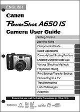 Canon Powershot A650 IS  Digital Camera User Guide Instruction  Manual