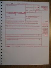 2016 IRS Tax Form 1098-C single sheet set for 1 donor, carbonless 4-part