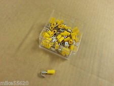 50 Pc ELECTRICAL INSULATED CRIMP YELLOW PIGGY BACK SPADE 6.35mm 12Volt 4x4 HOBBY