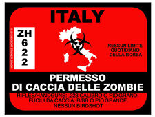 Italy Zombie Hunting Permit (Bumper Sticker)