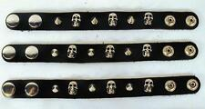 LEATHER SINGLE ROW SPIKED SKULL HEAD BRACELET mens womens wrist JL301 spikes