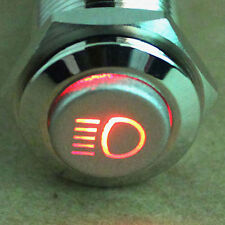 19mm Vehicle Driving Lights ON/OFF 12V Head Light Symbol LED Push Button Switch