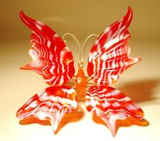 """Blown Glass Figurine """"Murano"""" Art Insect Red with White Stripes BUTTERFLY"""