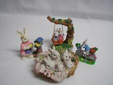 "Easter Bunny Collection of 4 Figurines Miniature 2""-3"" Tall CUTE Decor Holiday"