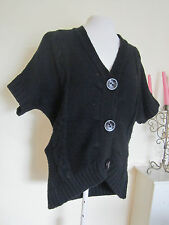 WOMAN CHUNKY CABLE KNIT BAT WING JUMPER SIZE8-10 BLACK DIP HEM JUMPER TOP BLOUSE