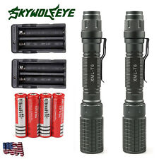 2 Sets 6000 Lumens 5Modes Tactical T6 LED Flashlight Torch+18650 Battery+Charger