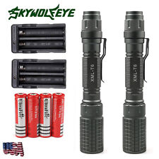 2x 6000LM Zoom Rechargeable T6 Cree XM-L Led Flashlight Torch+18650+Dual Charger