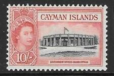 CAYMAN ISLANDS SG161 1955 10/- BLACK & ROSE RED MTD MINT