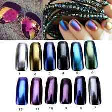 12 Box/Set Mirror Powder All Colors Powder Chrome Pigment Nail Glitters Sequins