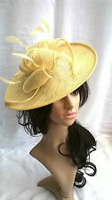 NEW  DEEP LEMON SINAMAY & FEATHER FASCINATOR HAT.Shaped saucer disc,Wedding.
