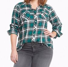 Torrid Plaid Challis Camp Flannel Shirt Green 1X 14 16 1 #43221