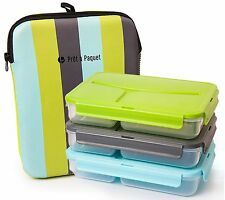 Set of 3 Lunch Boxes (Blue- Gray- Green)Leak-Proof & For Adults and Easy Clean