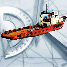 MODEL BOAT PLANS SCALE 1/75 Tug RADIO CONTROL  FULL SIZE PRINTED PLANS