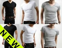 Men's Plain Slim Fit V-neck Crew Neck T-shirt Short Sleeve Muscle Tee Small Size