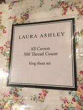 Laura Ashley King Sheet Set Tilly NIP 100% Luxury Combed Cotton Floral 4 Piece