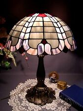 Vintage Tiffany Style Purple/Blue Stained Glass Lamp Water Lily Metal Base
