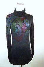 Custo Barcelona Black floral paisley long tunic top mini dress turtleneck 3 L