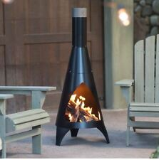 Outdoor Steel Chiminea Wood Burning Fireplace Black Backyard Patio Garden Deck