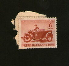 POSTAGE STAMP : AUSTRIA - 6 Aeba - brown -  motorcyclist with sidecar