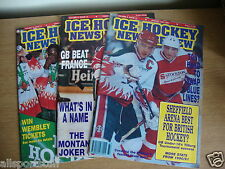 3 x Ice Hockey News Review Magazines - 1991,2 & 3 - Good Condition - FREE UK P&P