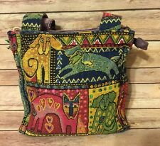 Laurel Burch Tapestry Dog Cat Purse Sequins Multi Color Medium Shoulder Bag